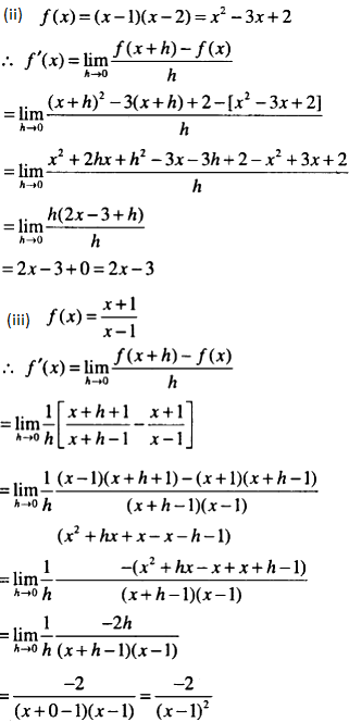Find the derivative of the following : (by first ...