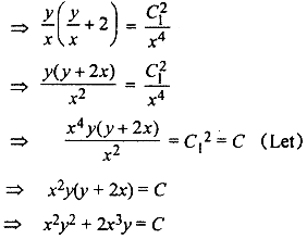 Solve the differential equations (3xy + y^2) dx + (x^2