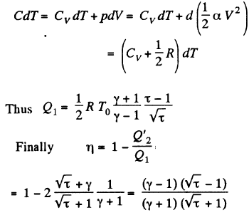 An ideal gas with the adiabatic exponent γ goes through a