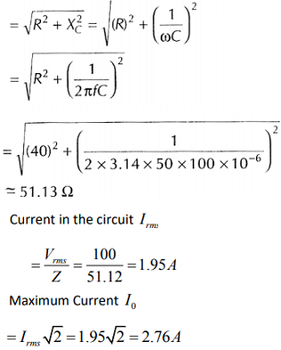 A 100 μF capacitor is in series with a 40Ω resistor and is