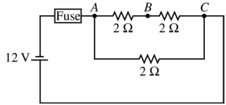 An electric circuit consists of a 12 V battery, an ideal