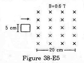 Figure (38-E5) shows a square loop of side 5cm being moved