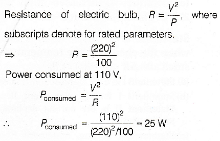 An electric bulb is rated 220 V-100 W  The power consumed by it when