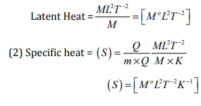 Find the dimensions of latent heat and specific heat