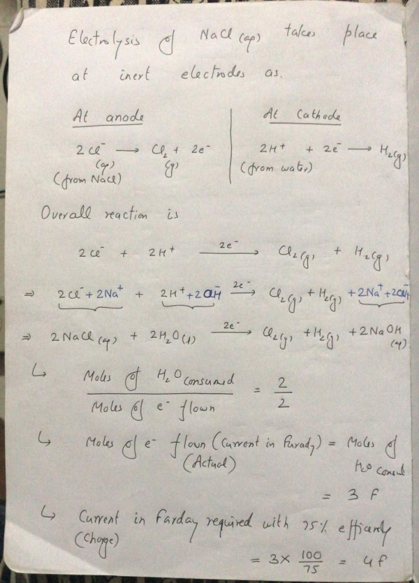 During electrolysis of NaCl, if 3 mole of H2O are electrolysed