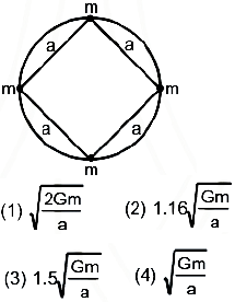 Four particles of same mass m are undergoing circular