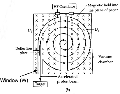Draw a labelled diagram of cyclotron. Explain its working