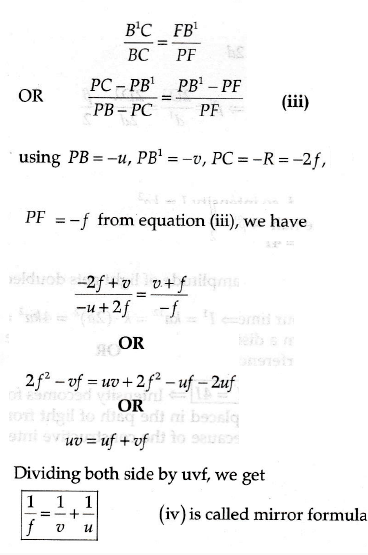 Obtain the mirror formula and write the expression for the linear