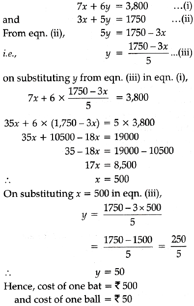Form the pair of linear equations for the problems and find