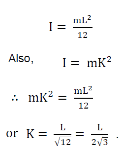 Calculate radius of gyration of a cylindrical rod of mass m