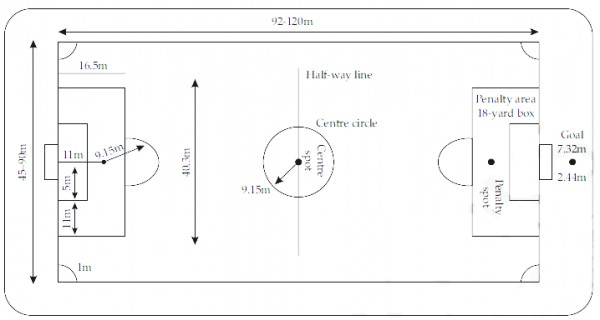 Draw A Diagram Of A Football Field Showing All Its Dimensions Sarthaks Econnect Largest Online Education Community