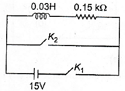 An inductor (L=0.03H) and a resistor (R =0.15kΩ) are