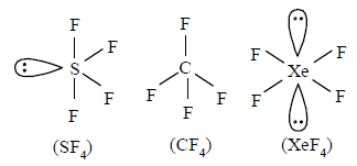 The Molecular Shapes Of Sf4 Cf4 And Xef4 Are A The Same With 2 0 And 1 Lone Pairs Of Electrons On The Central Atom Respectively Sarthaks Econnect Largest Online Education Community